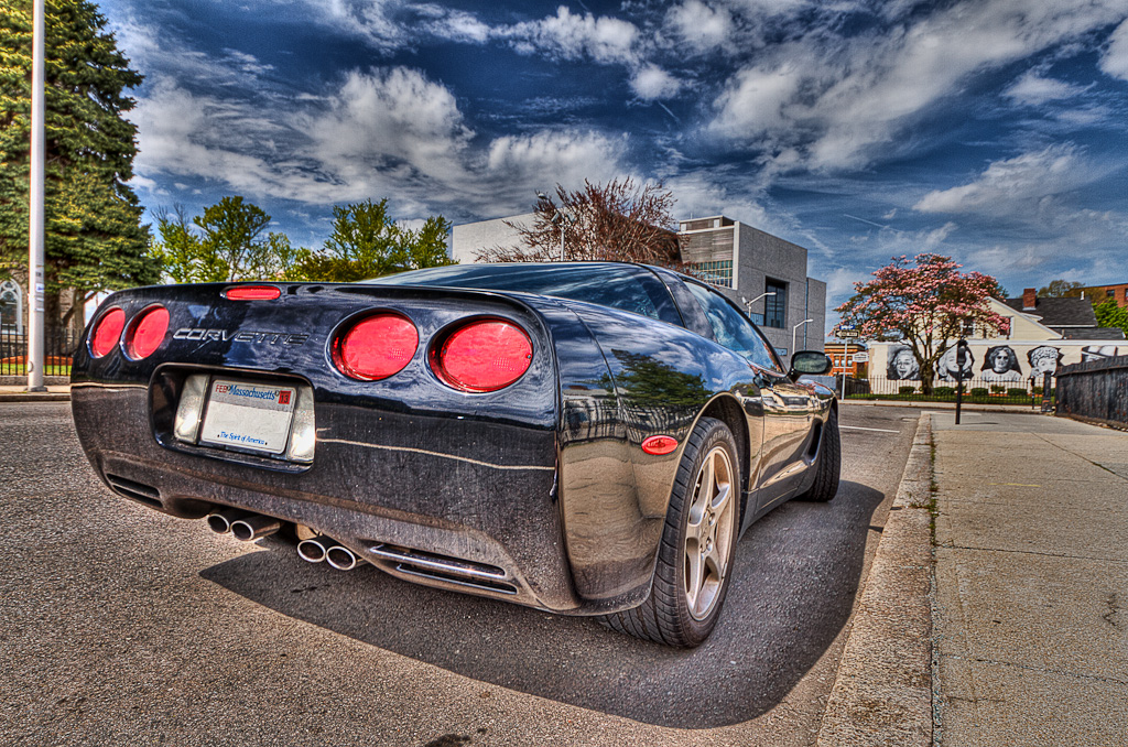 HDR photograph of a black Corvette, taken by Rhode Island photographer Mike Dooley