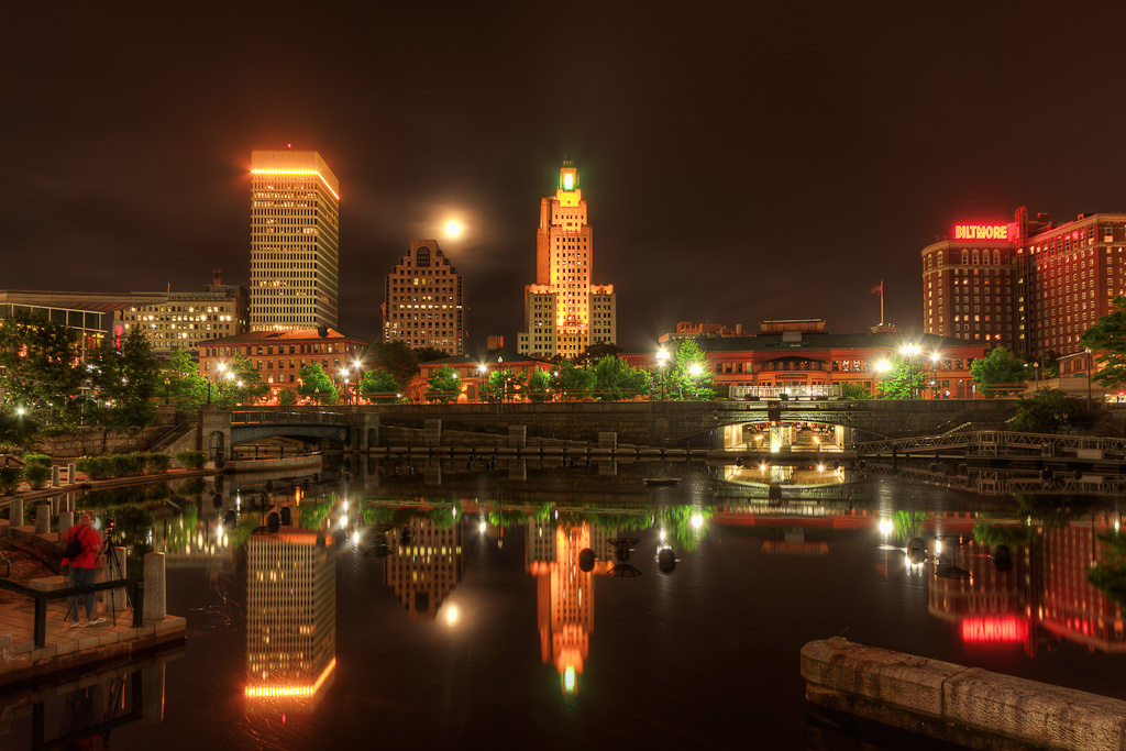 HDR photograph of the full moon over the Providence Skyline from Waterplace Park. Taken by Rhode Island photographer Mike Dooley