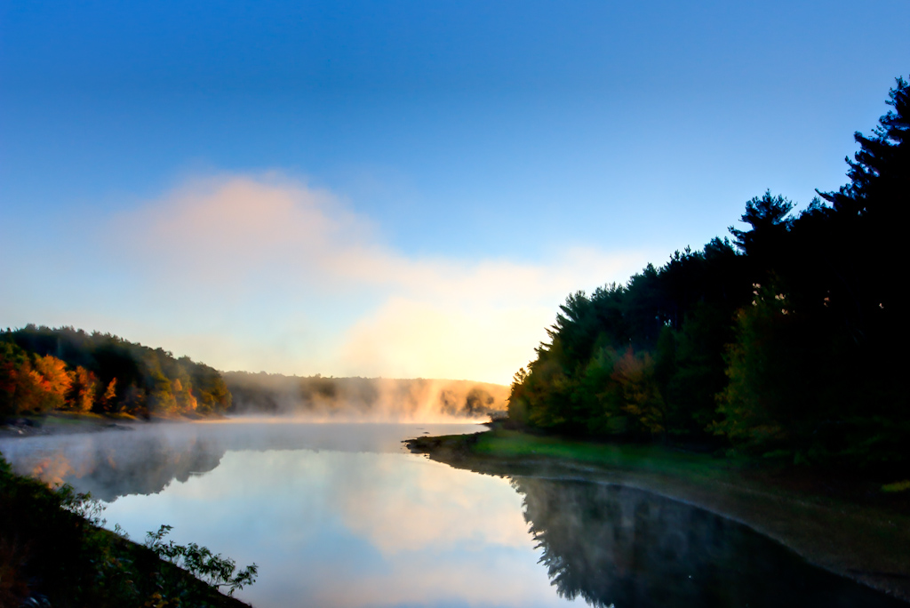 Photograph of the morning mist on Scituate Reservoir during Fall Foliage Season