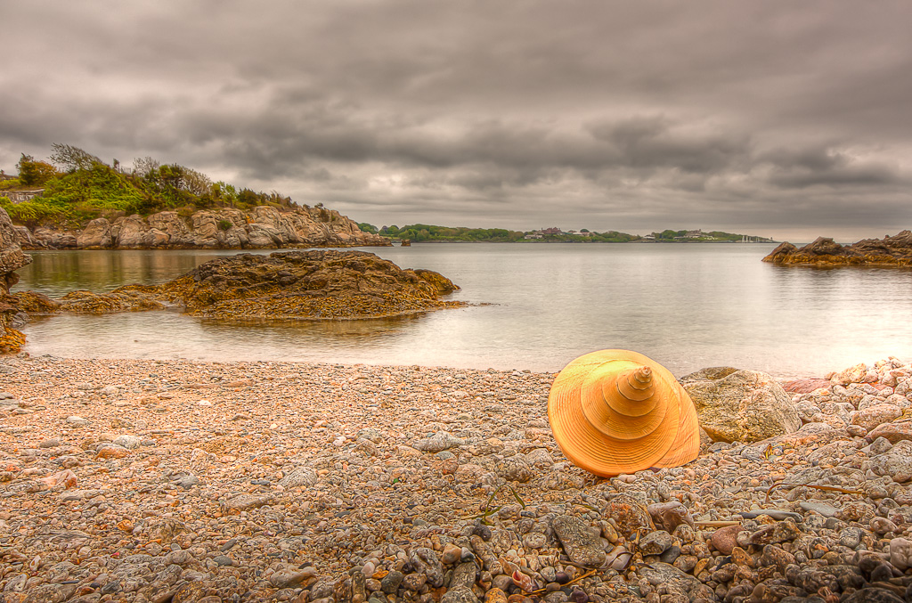 HDR photograph of a giant conch shell on the beach at Fort Wetherill, taken by Rhode Island photographer Mike Dooley