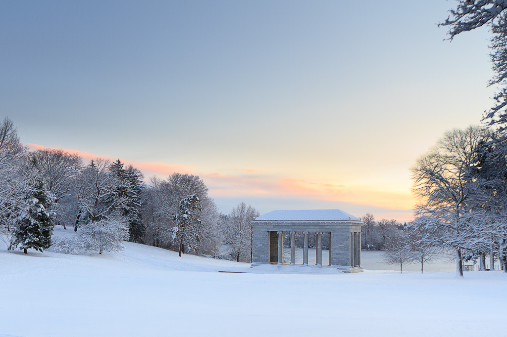 Winter Photography at the Temple of Music at Roger Williams Park at dawn after a fresh snowfall. Taken by Rhode Island photographer Mike Dooley