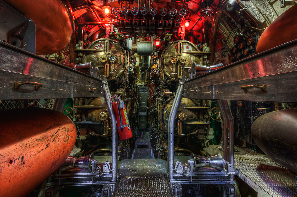 HDR photograph of the Torpedo Room on the World War II Submarine USS Lionfish taken by Rhode Island photographer Mike Dooley