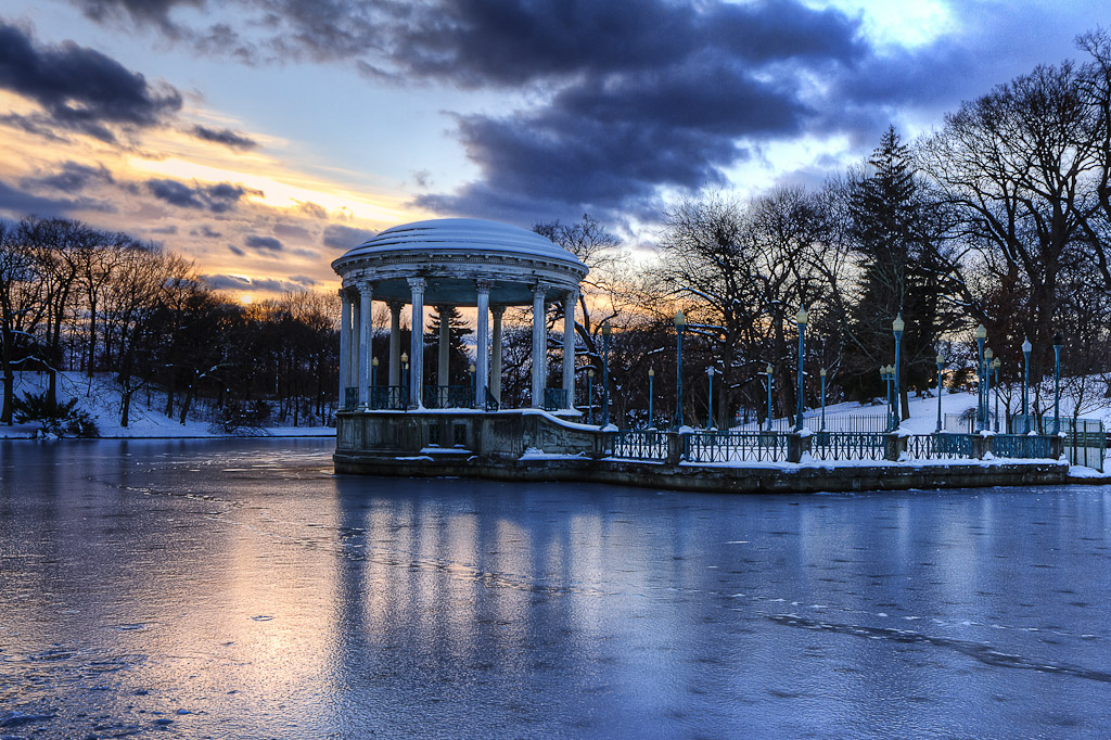 Winter photography at The Gazebo at Roger Williams Park at sunset, taken by Rhode Island photographer Mike Dooley