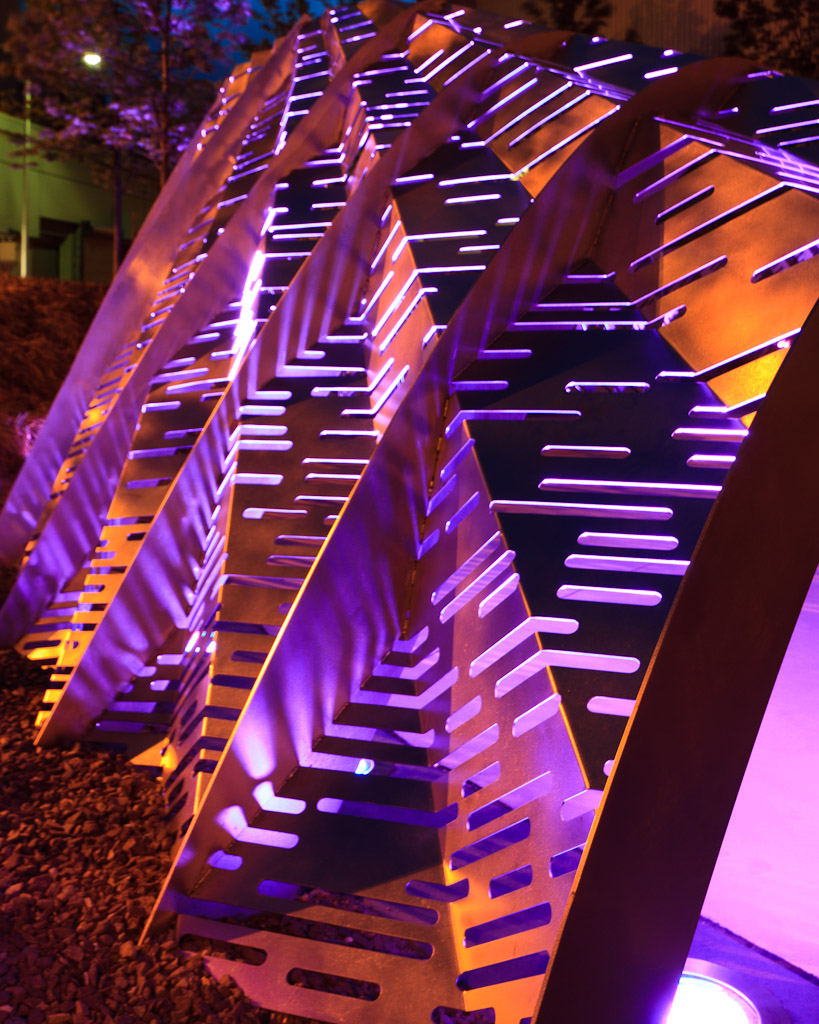 Night Photography of a sculpture outside the Dunkin Donuts Center in Providence, Rhode Island