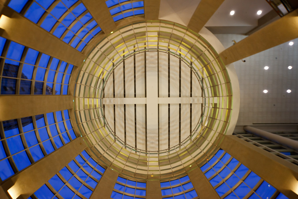 Photograph of the domed ceiling in the lobby of the Rhode Island Convention Center