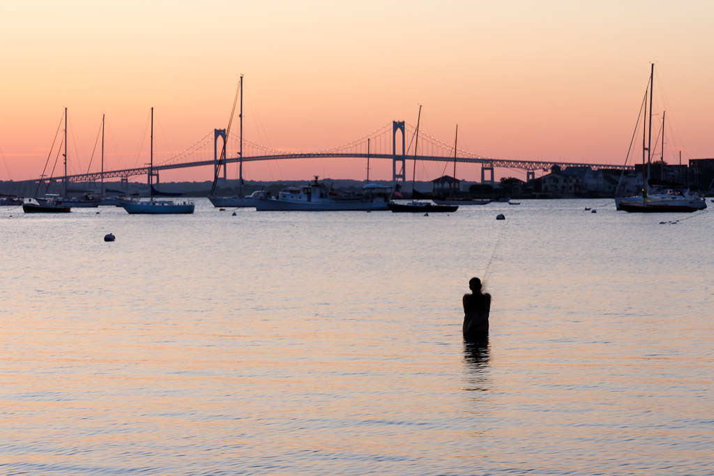 Fishing in Newport at Sunset - Mike Dooley