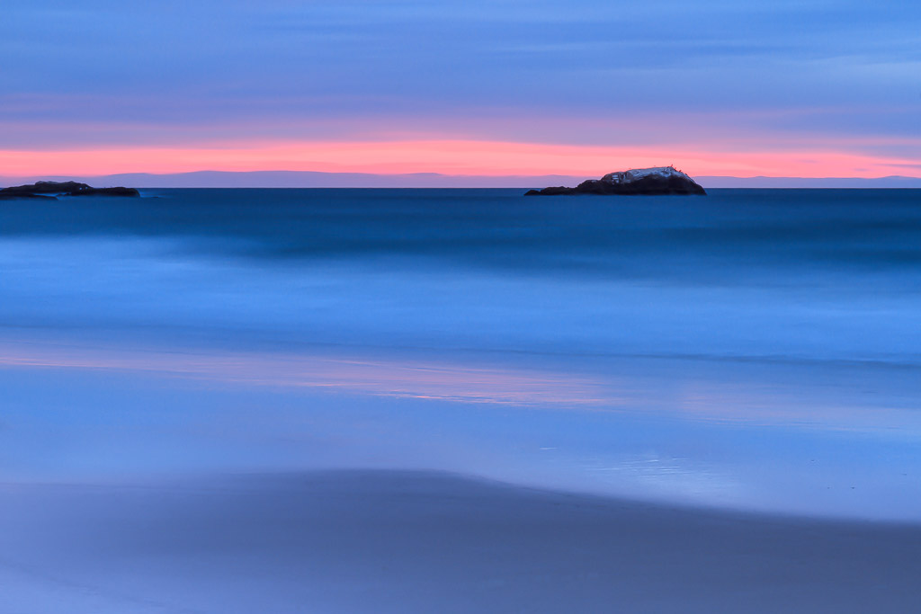 Seascape Photography - The Soft Colors of Sunrise at Narragansett Beach in this photograph of Rhode Island