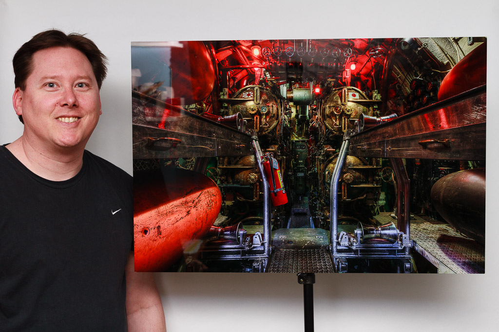20'x30 Sublimation Onto Metal Print of the USS Lionfish Torpedo Room, with Rhode Island photographer Mike Dooley