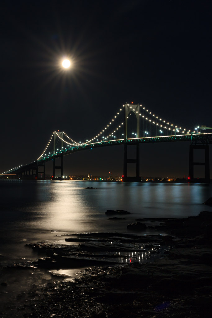 Blue Moon Over Newport Bridge - for months I have been patiently waiting to create this photograph. On Friday night the Blue Moon offered me the opportunity to capture it in the clear skies of the Newport Bridge