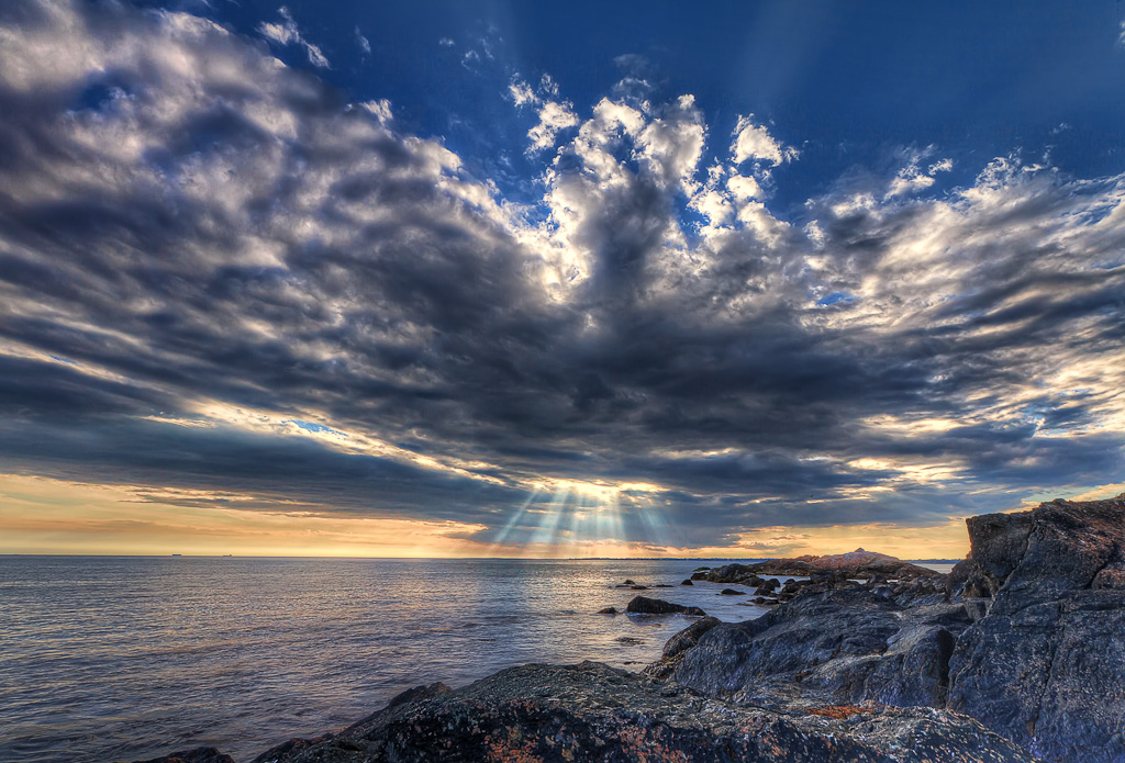Hdr Photograph Of The Suns Rays Beaming Through Clouds At Sakonnet Point Beach Little